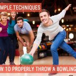 A young male throwing a bowling ball while three of his friends are watching and supporting him - Title picture for How To Properly Throw a Bowling Ball