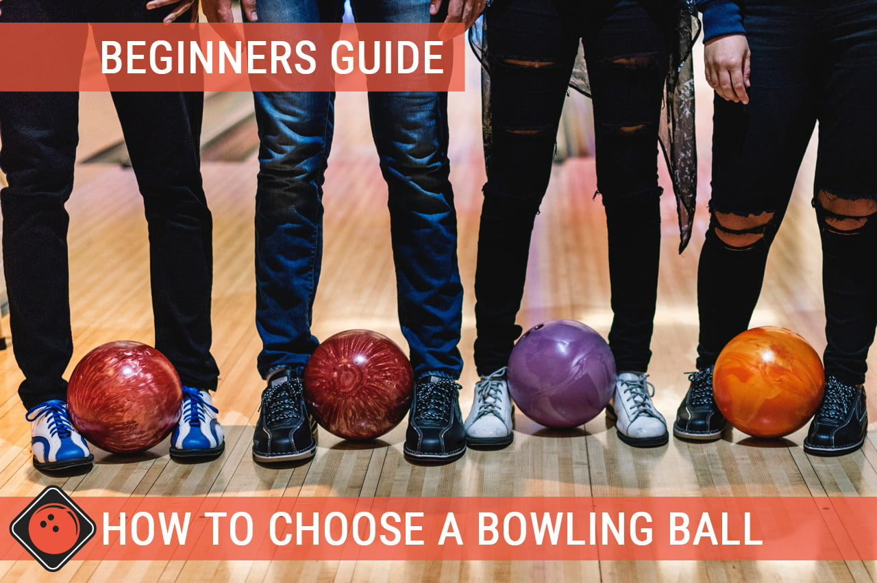 Four teenagers are holding four different bowling balls - Title picture for How to choose a bowling ball beginners guide