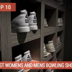 A rack with multiple bowling shoes