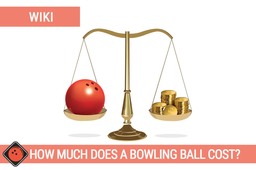 One bowing ball and a stack of coins on a scale weighing - Title picture for How much does a bowling ball cost?